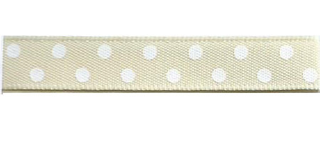 SR1204/25-04 Satin white Polka Dots 25mm 20mtr cream