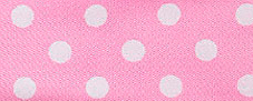 SR1204/25-06 Satin white Polka Dots 25mm 20mtr light pink