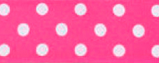 SR1204/25-10 Satin white Polka Dots 25mm 20mtr fuchsia