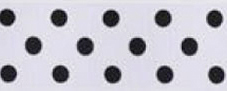 SR1204/25-15 Satin black Polka Dots 25mm 20mtr white