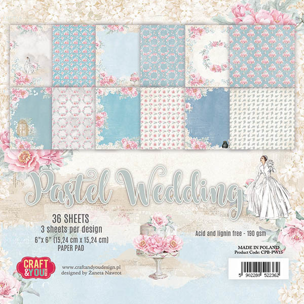 CPB-PW15 PASTEL WEDDING Small Paper Pad 6x6, 36 sheets, 190gsm