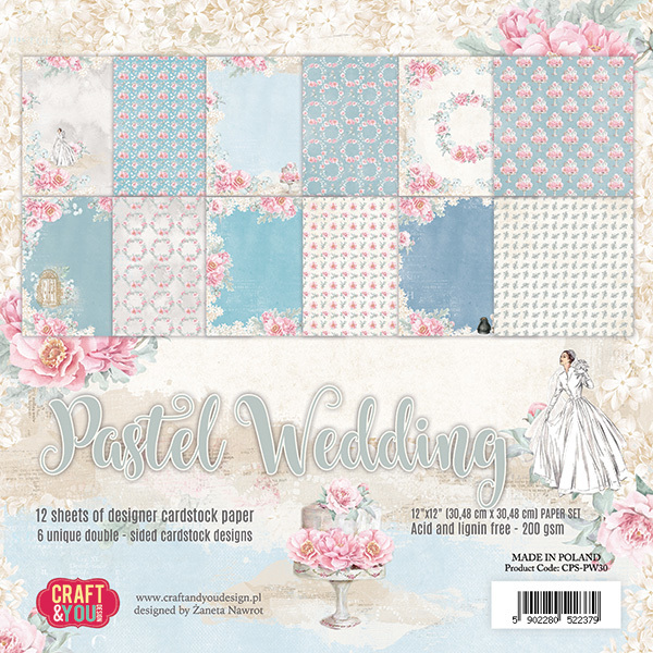 CPS-PW30 PASTEL WEDDING Big Paper Set 12x12, 12 sheets, 200 gsm
