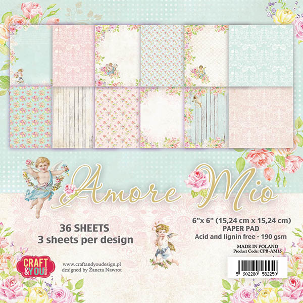 CPB-AM15 AMORE MIO Small Paper Pad 6x6, 36 sheets, 190gsm
