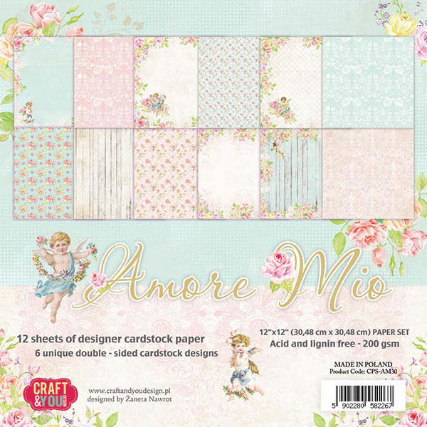 CPS-AM30 AMORE MIO Big Paper Set 12x12, 12 sheets, 200 gsm