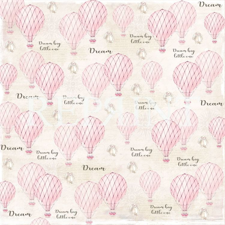 RP0225 Dream Big Collection Patterned paper 12x12, 200 gm Pink Balloons