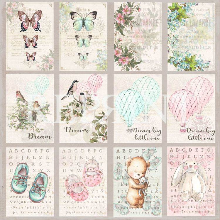 RP0233 Dream Big Collection Patterned paper 12x12, 200 gm Labels