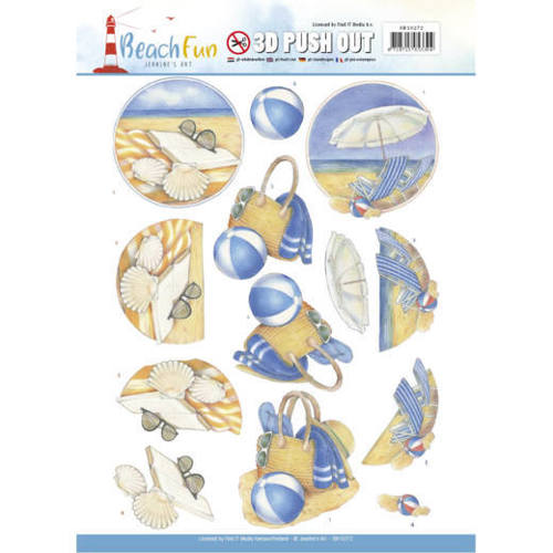 SB10272 3D Push Out - Jeanine's Art - Beach Fun - Relax