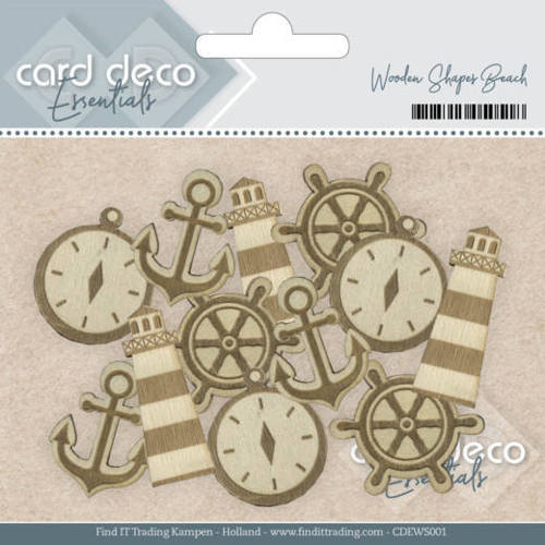 CDEWS001 Card Deco Essentials - Wooden Shapes Beach
