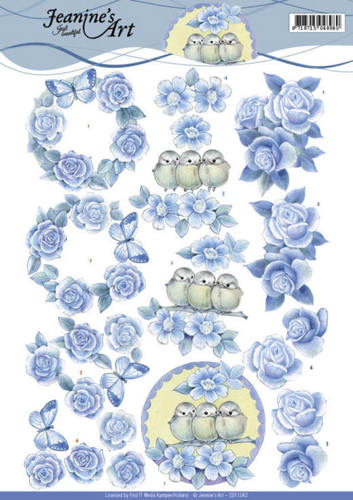CD11042 3D knipvel - Jeanine's Art - Blue Roses