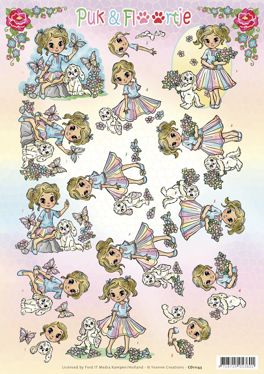 CD11143 3D knipvel - Yvonne Creations - Puk en Floortje - Summer