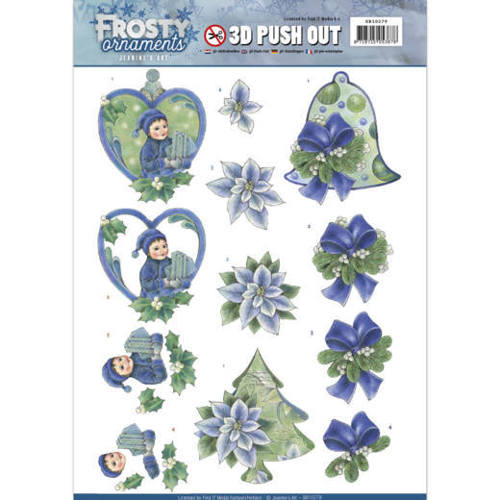 SB10279 3D Push Out - Jeanine's Art - Frosty Ornaments - Green Ornaments