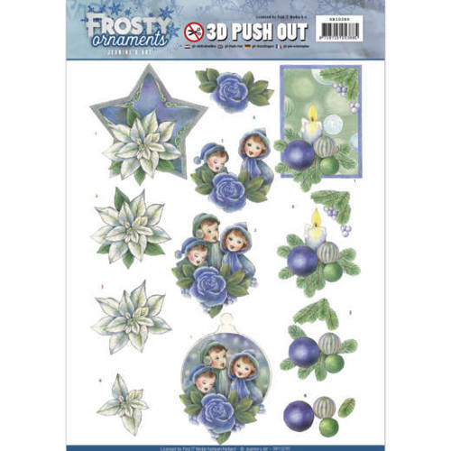SB10280 3D Push Out - Jeanine's Art - Frosty Ornaments - Blue Ornaments