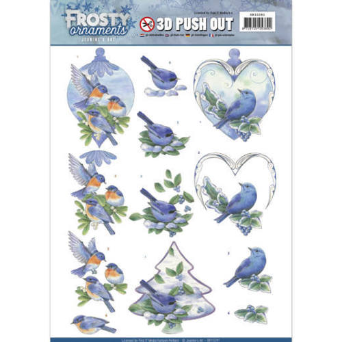 SB10281 3D Push Out - Jeanine's Art - Frosty Ornaments - Blue Birds
