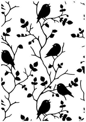 HSF027 Embossing Folder Tree with birds