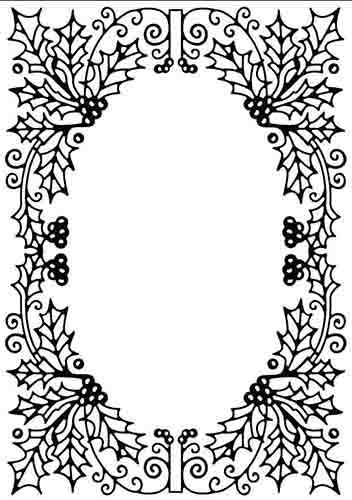 HSFC010 Embossing Folder Christmas Holly oval frame