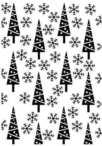 HSFC011 Embossing Folder Christmas background pine-trees and snowflakes