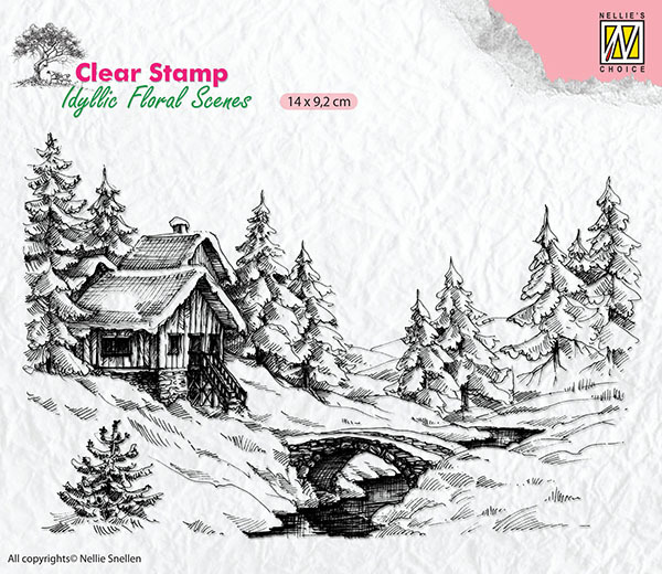 IFS009 Clear Stamps Idyllic Floral Scenes winter scene-1