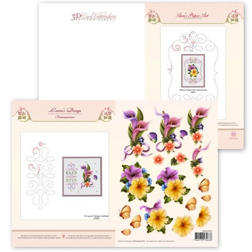 3DCE13021 3D Card Embroidery Pattern Sheet #21 with Ann &amp	 Laura