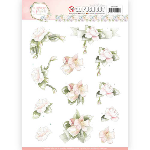 SB10285 3D Pushout - Precious Marieke - Flowers in Pastels - Believe in Pink