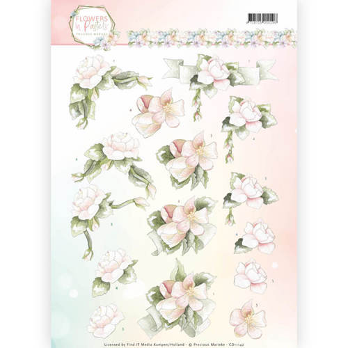 CD11142 3D Knipvel - Precious Marieke - Flowers in Pastels - Believe in Pink
