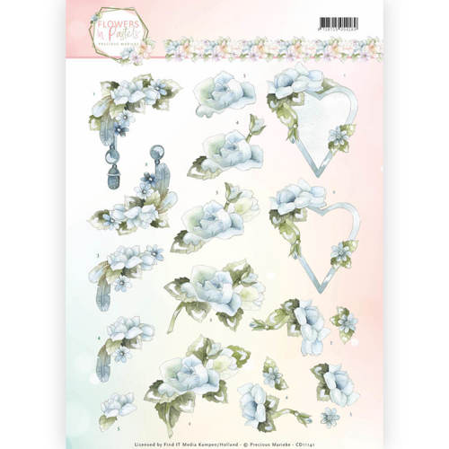 CD11141 3D Knipvel - Precious Marieke - Flowers in Pastels - Blue Dreams