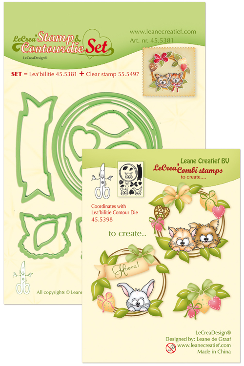 45.5381 Leabilitie® Set met Contour snijmal en clear stamp Wreath with pets