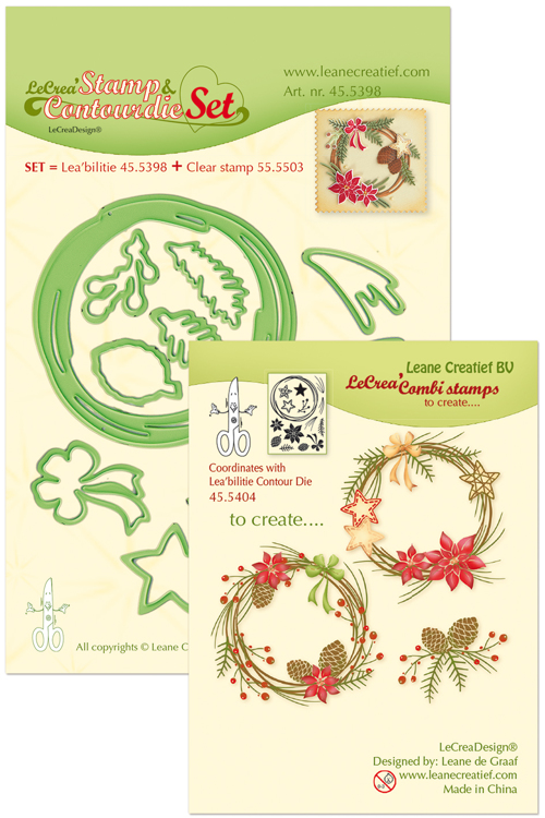 45.5398 Leabilitie® Set met Contour snijmal en clear stamp Christmas wreath