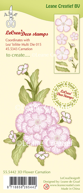 55.5442 LeCreaDesign® clear stamp 3D Flower Carnation