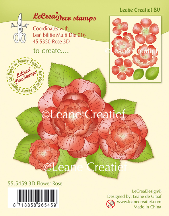 55.5459 LeCreaDesign® clear stamp 3D Flower Rose