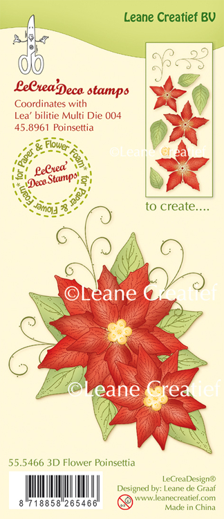 LeCreaDesign® clear stamp 3D Flower Poinsettia (combi possible with Lea'bilitie die 45.8961)
