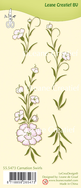 55.5473 LeCreaDesign® clear stamp Carnation swirls