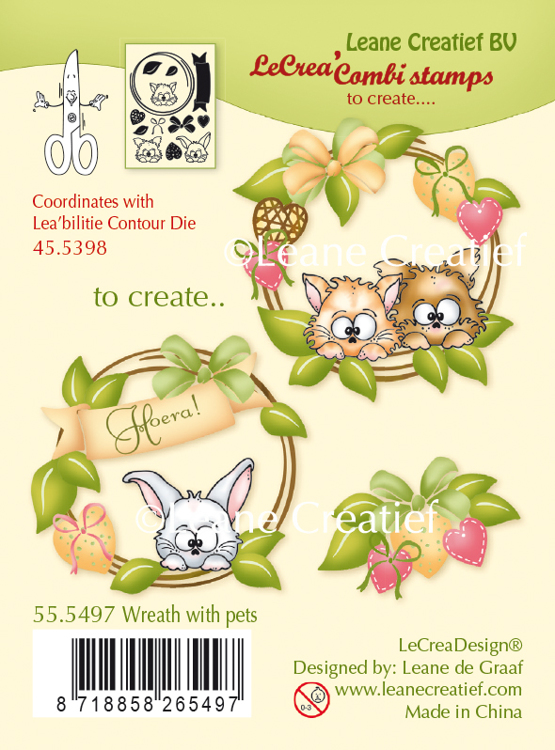 55.5497 LeCreaDesign® combi clear stamp Wreath with pets