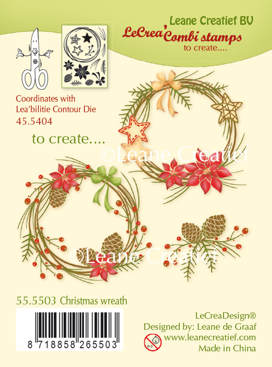 55.5503 LeCreaDesign® combi clear stamp Christmas wreath