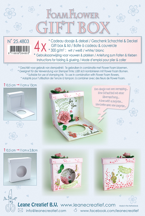 25.4803 Flower Foam gift boxes 4 x white 10,5x11x2,8 cm.