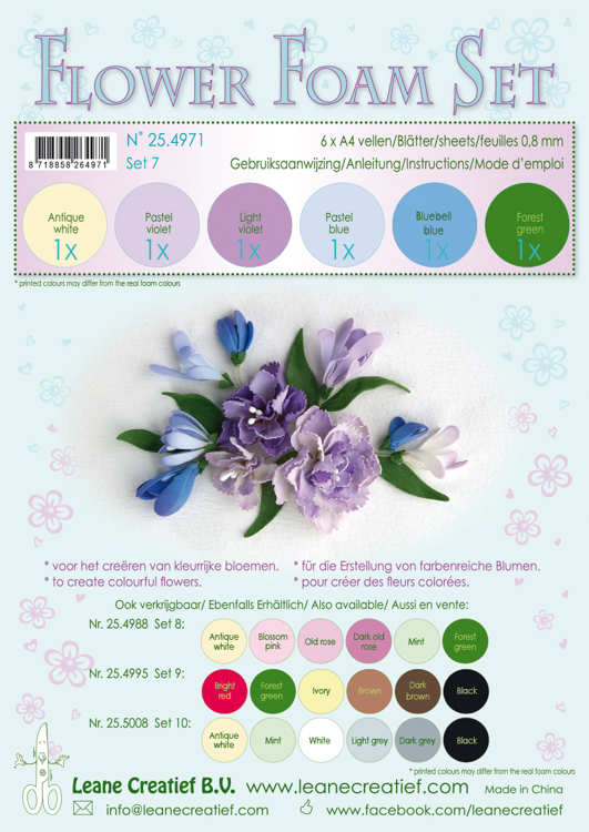 25.4971 Flower Foam Set 7, 6 sheets A4 0.8mm. pastel blue/violet colours incl. instructions.