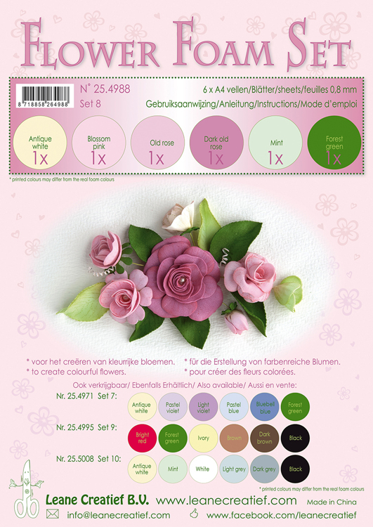 Flower Foam Set 8, 6 sheets A4 0.8mm. old rose colours incl. instructions.