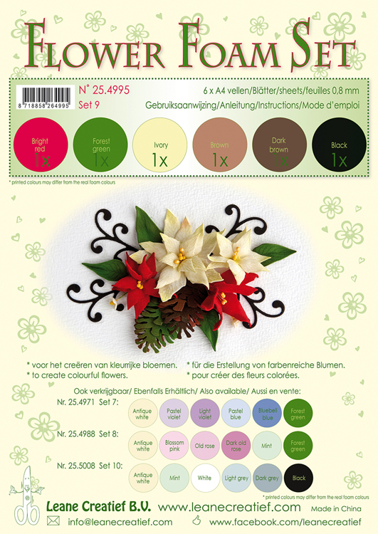 25.4995 Flower Foam Set 9, 6 sheets A4 0.8mm. brown-red-green colours incl. instructions.