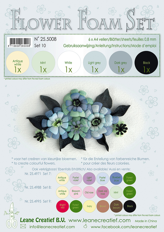 25.5008 Flower Foam Set 10, 6 sheets A4 0.8mm. black-grey colours incl. instructions.