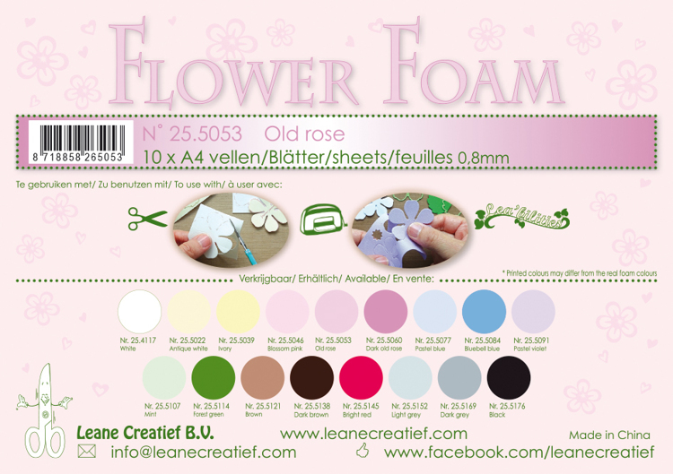 25.5053 10 Flower foam sheets A4 0.8mm. Old rose 10 sheets
