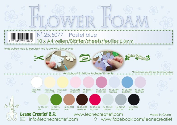 25.5077 10 Flower foam sheets A4 0.8mm. Pastel blue 10 sheets
