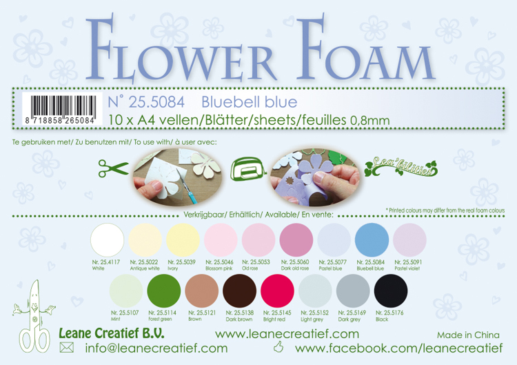 25.5084 Flower foam sheets A4 0.8mm. Bluebell blue 10 sheets