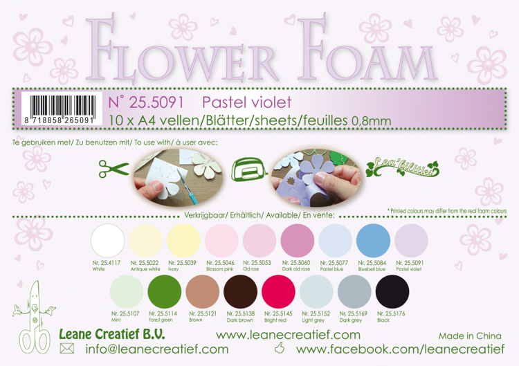 25.5091 Flower foam sheets A4 0.8mm. Pastel violet 10 sheets