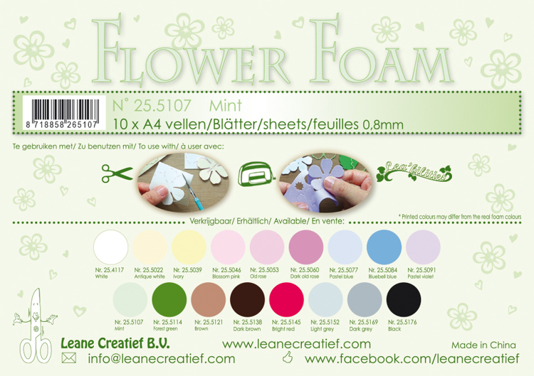25.5107 Flower foam sheets A4 0.8mm. Mint 10 sheets