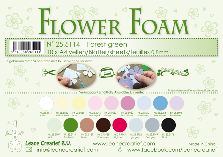 25.5114 Flower foam sheets A4 0.8mm. Forest green 10 sheets