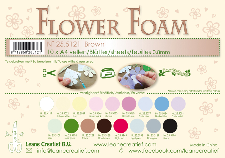 25.5121 Flower foam sheets A4 0.8mm. Brown 10 sheets