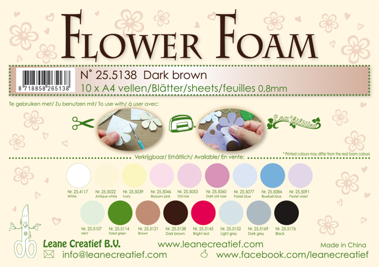25.5138 Flower foam sheets A4 0.8mm. Dark brown 10 sheets