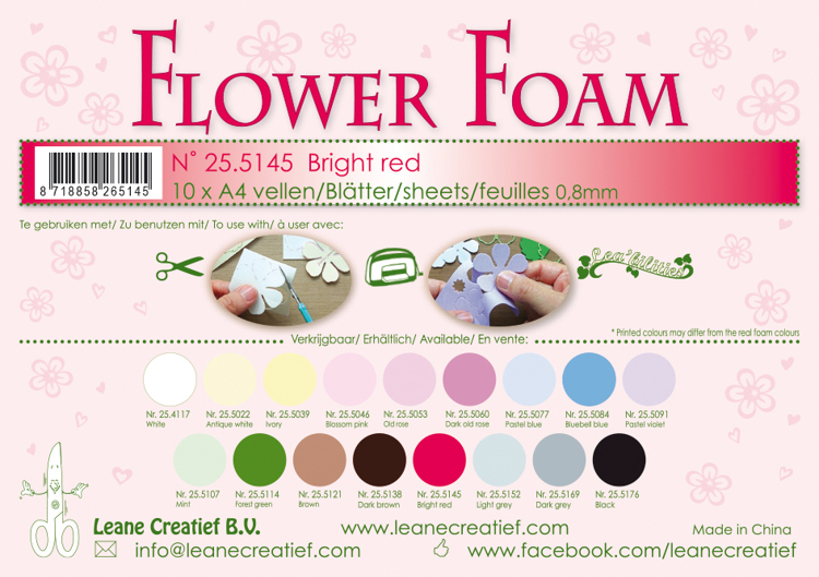 25.5145 Flower foam sheets A4 0.8mm. Bright red 10 sheets
