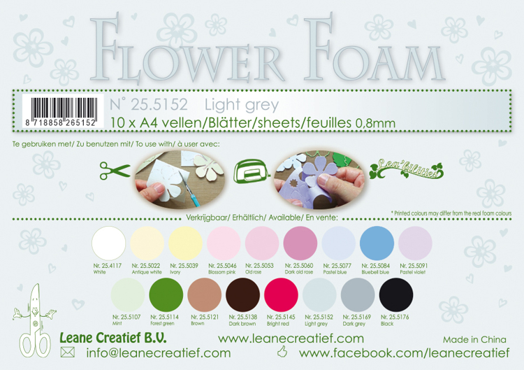 25.5152 Flower foam sheets A4 0.8mm. Light grey 10 sheets