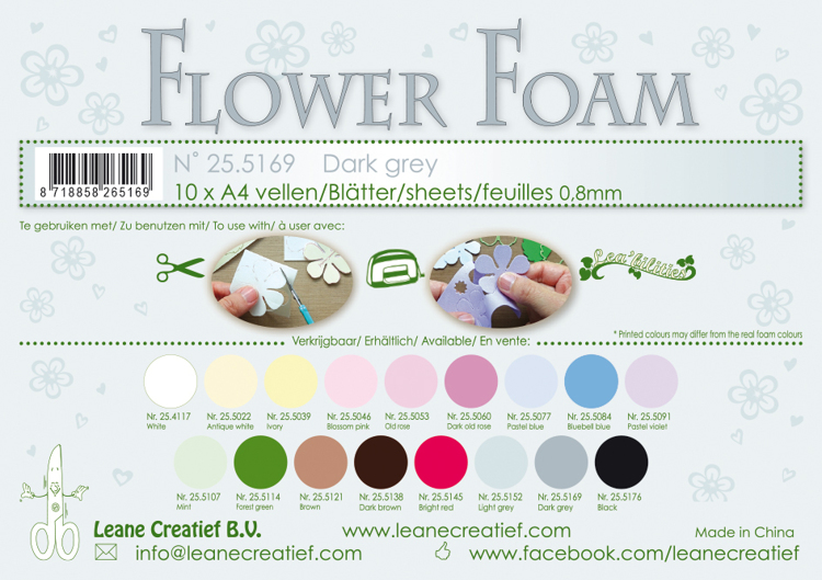25.5169 Flower foam sheets A4 0.8mm. Dark grey 10 sheets