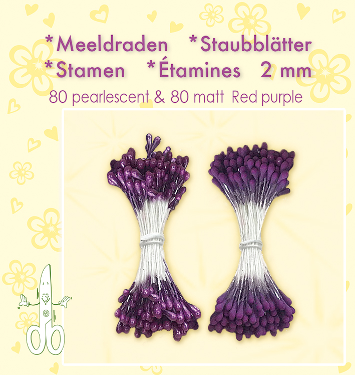 26.4896 Meeldraden 2mm, ±80 matt & 80 pearl Red Purple